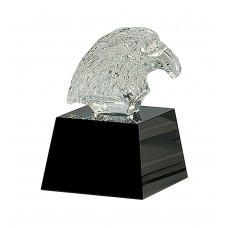 CRY322 Clear Crystal Eagle Head on Black Pedestal Base